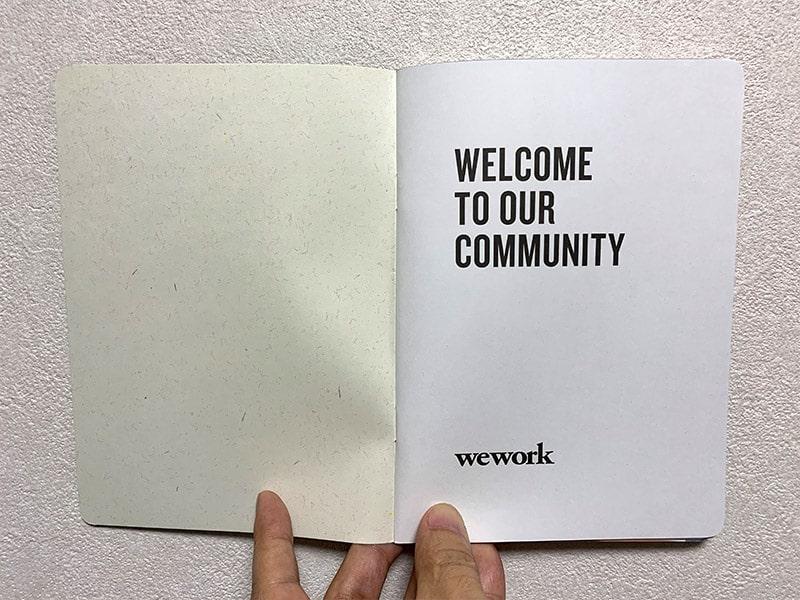 WeWorkのハンドブック1ページ目